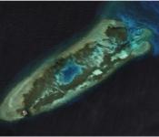 Hình 1: Hình ảnh khu vực đảo đá Chữ Thập được chụp vào ngày 14/8/2014, khi chưa có các hoạt động xây dựng đảo nhân tạo